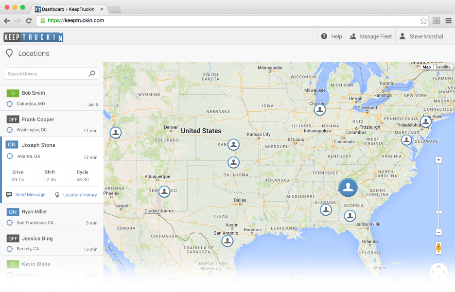 GPS Location Tracking with the KeepTruckin Electronic Logbook