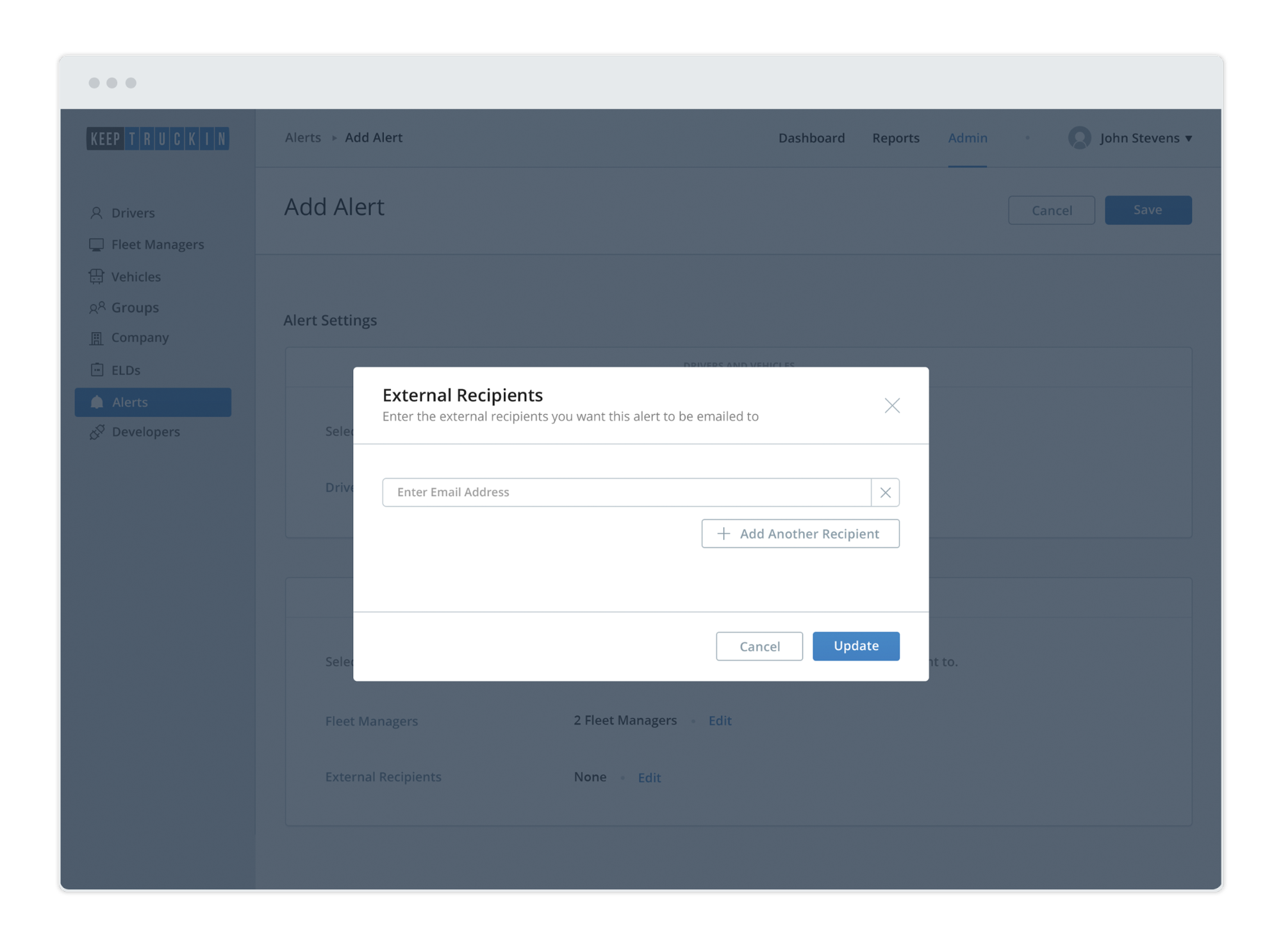 Sending driver alerts to people outside your organization via email addresses
