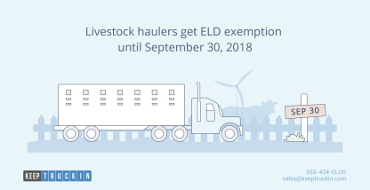 Livestock haulers get ELD exemption until September 30, 2018