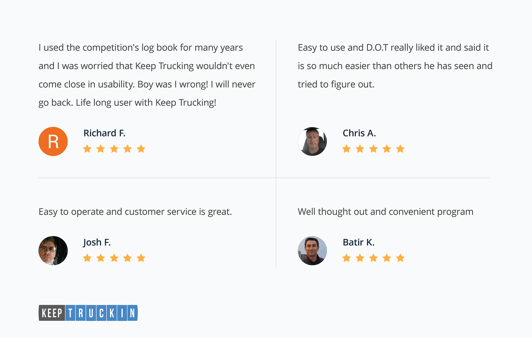 KeepTruckin's user reviews