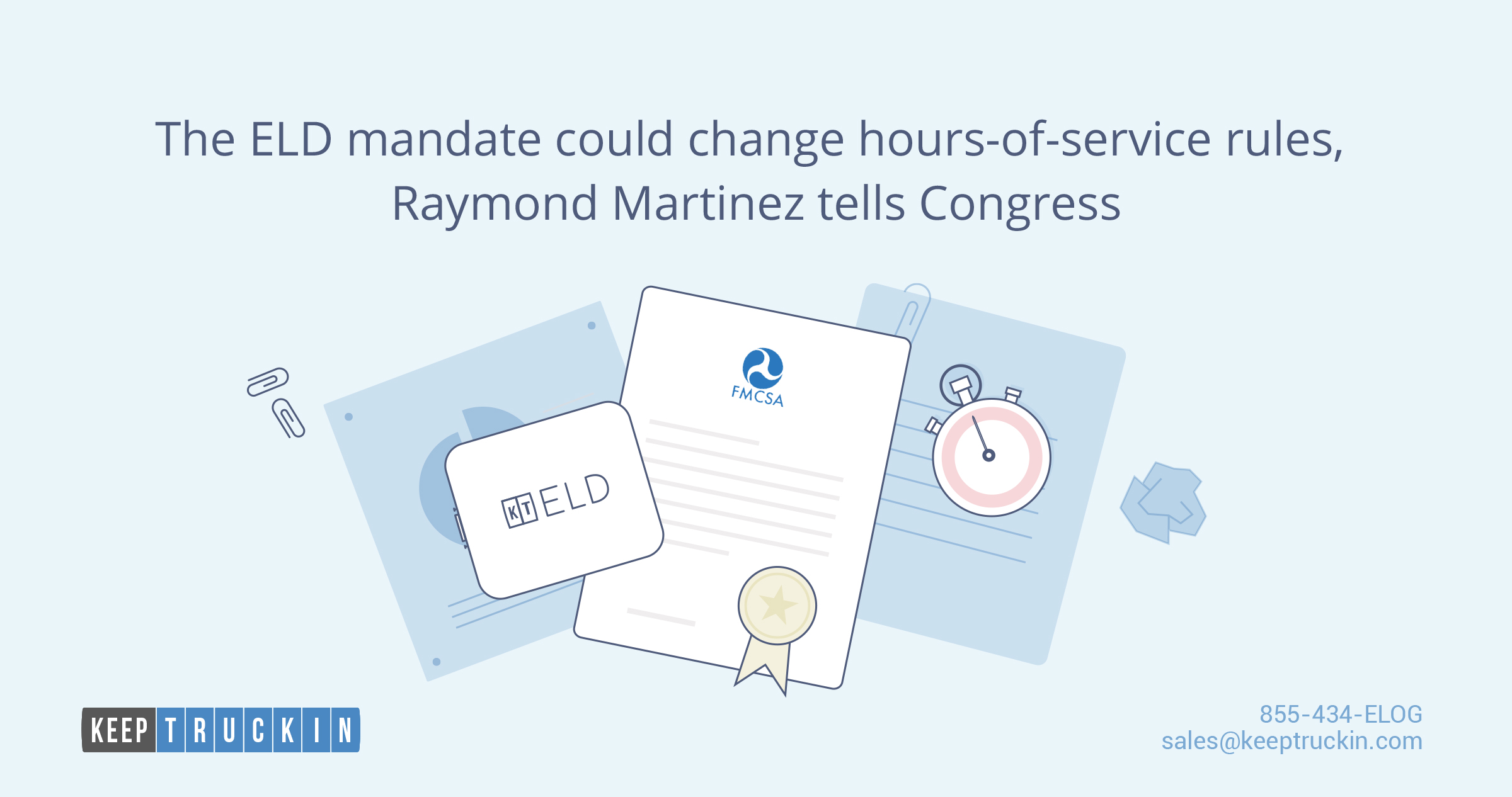 The ELD mandate could change hours-of-service rules, Raymond Martinez tells Congress
