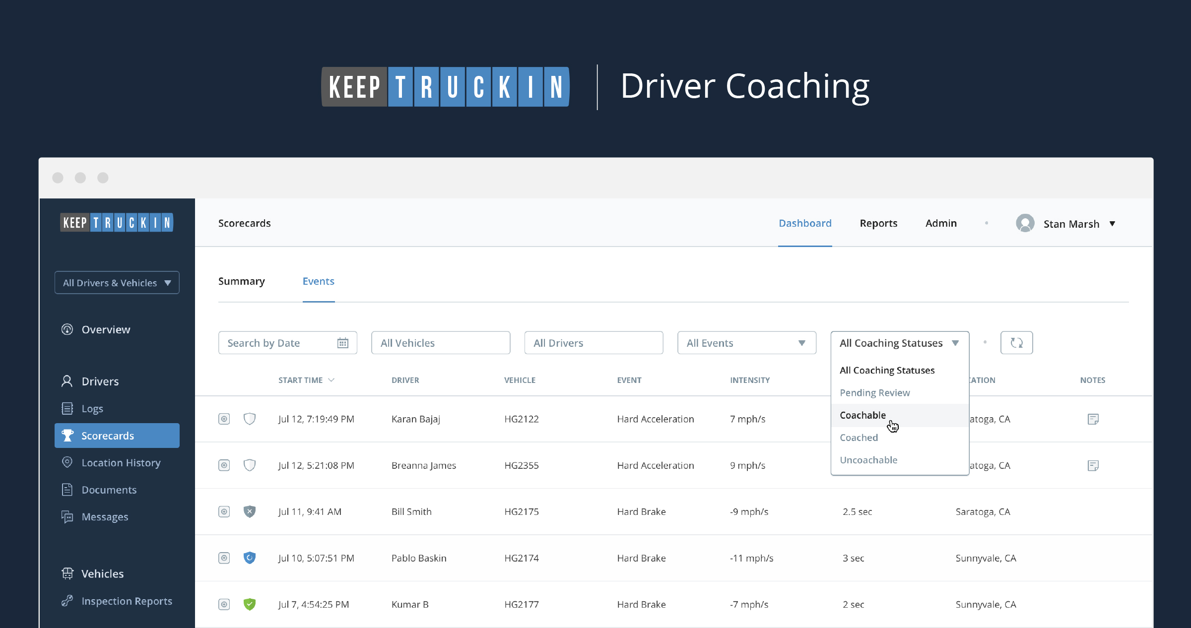 Introducing 'Driver Coaching': A new feature to help coach your drivers