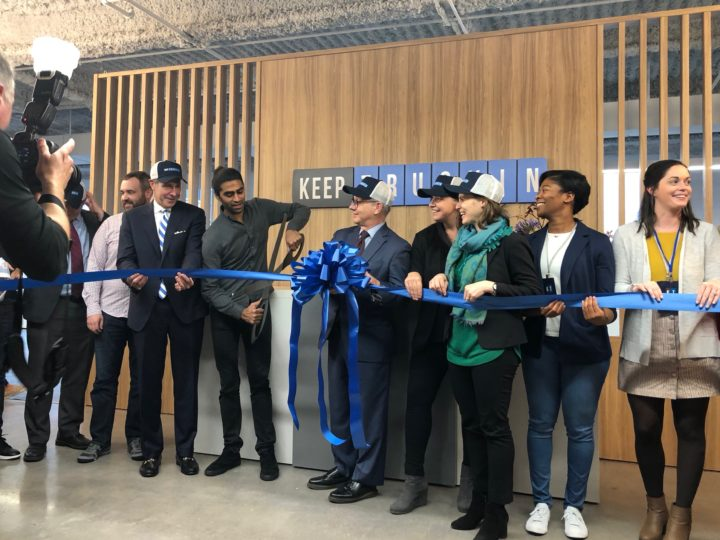 Our ribbon cutting ceremony for KeepTruckin's Nashville office. Our CEO Shoaib Makani cuts the ribbon. He is joined by Nashville Mayor David Briley and and Commissioner Bob Rolfe.