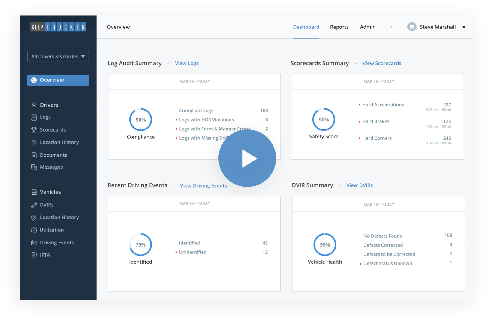 fleet safety and coaching view in dashboard