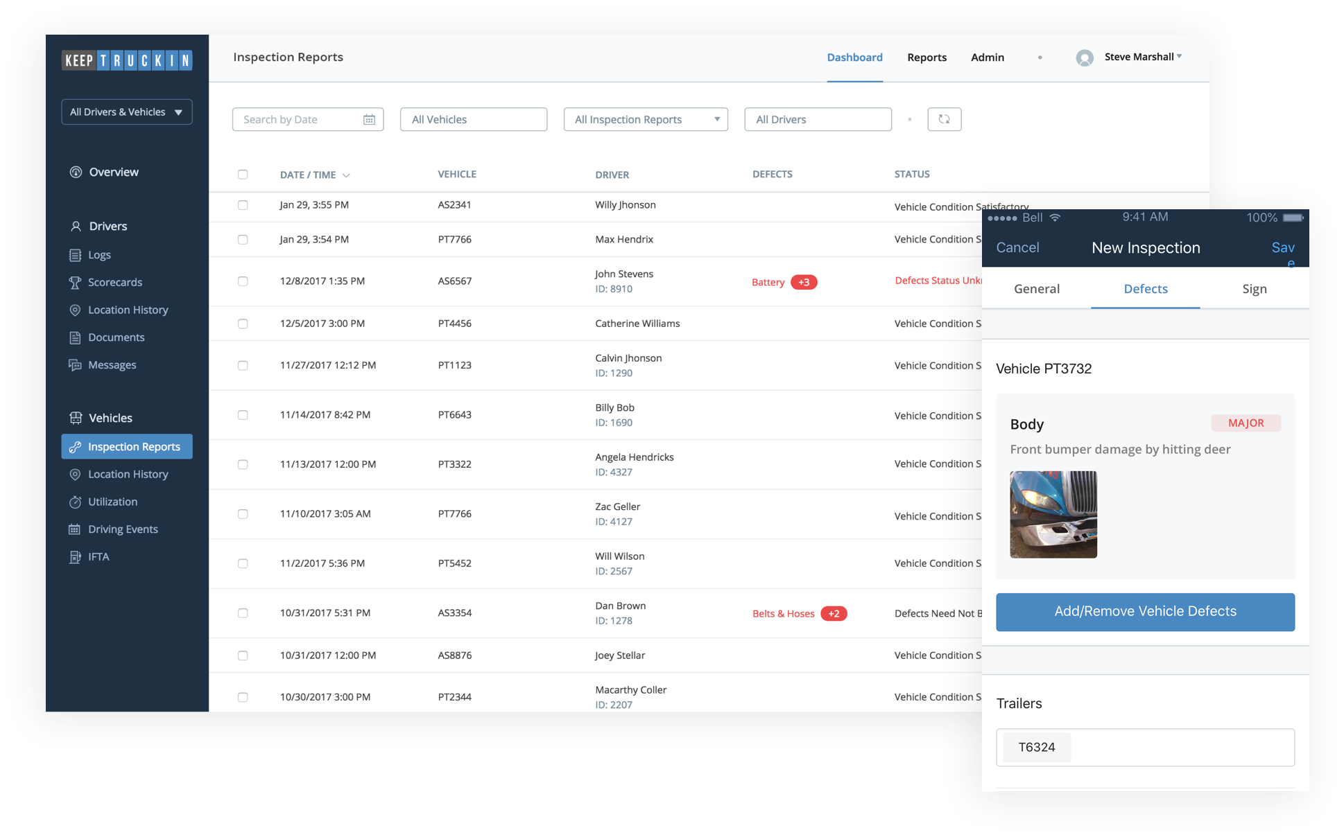 inspection reports in dashboard